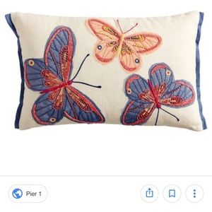 NWT Pier1 Embroidered Butterfly Lumbar Pillow